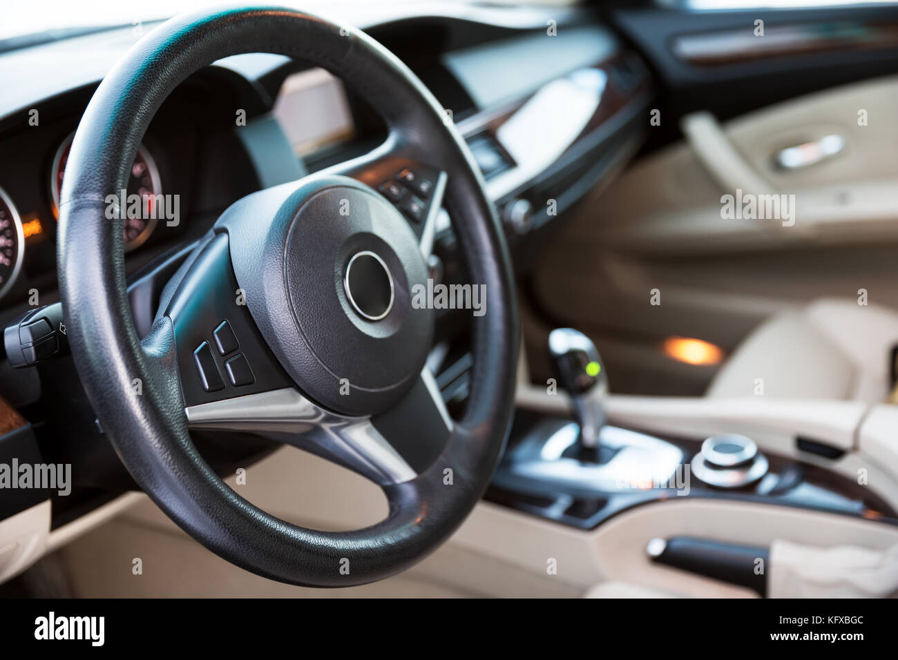 Interior view of car with luxery beige salon - Stock Image