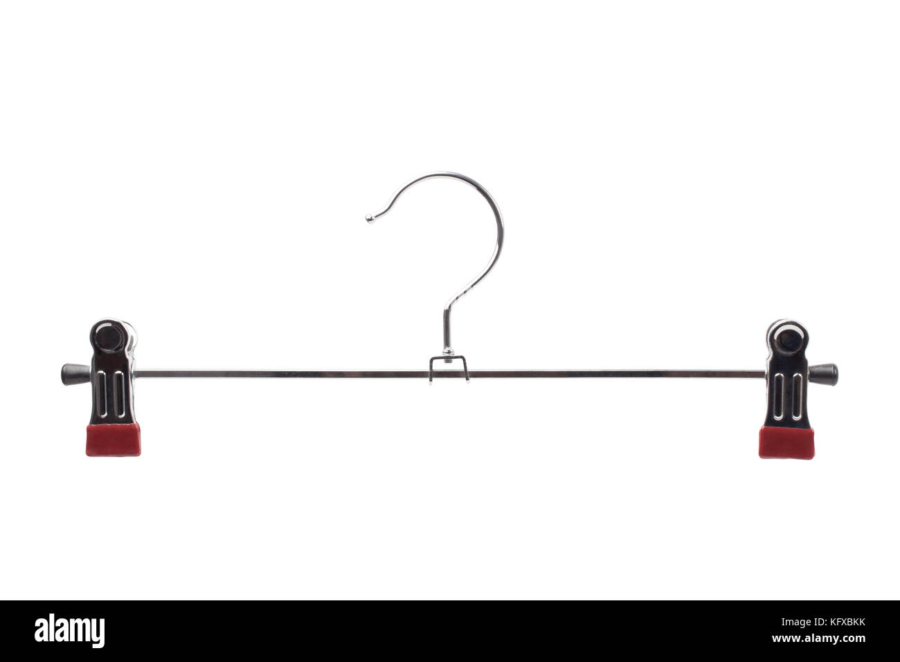 Metallic clothes hanger for trousers and skirts isolated on white color background. - Stock Image