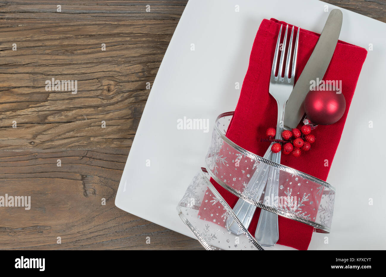 Christmas Table Place Setting Holiday Background Festive