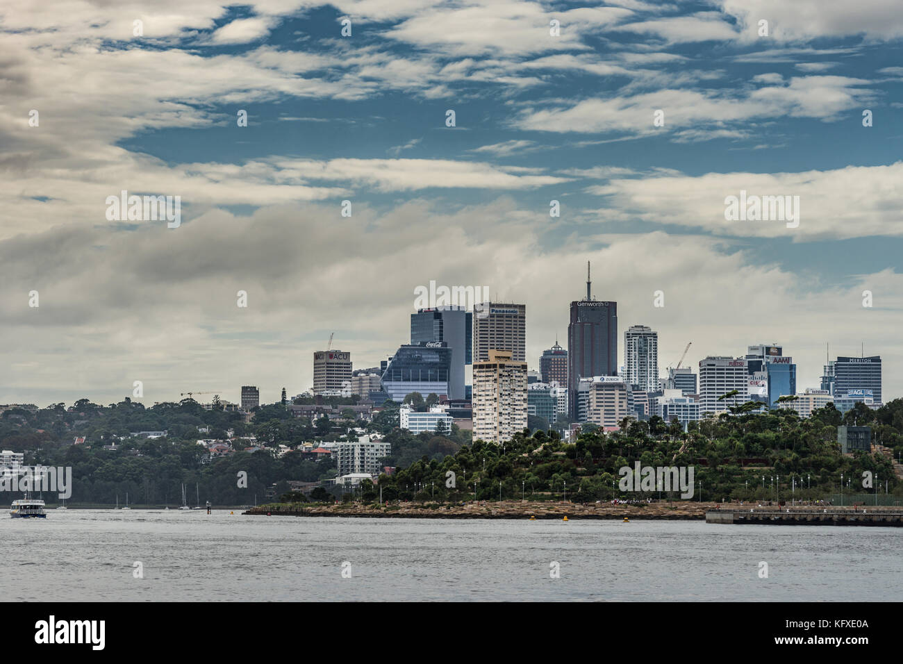 Sydney, Australia - March 21, 2017: Skyline of Kirribilli, northern Sydney business district under blue sky with - Stock Image