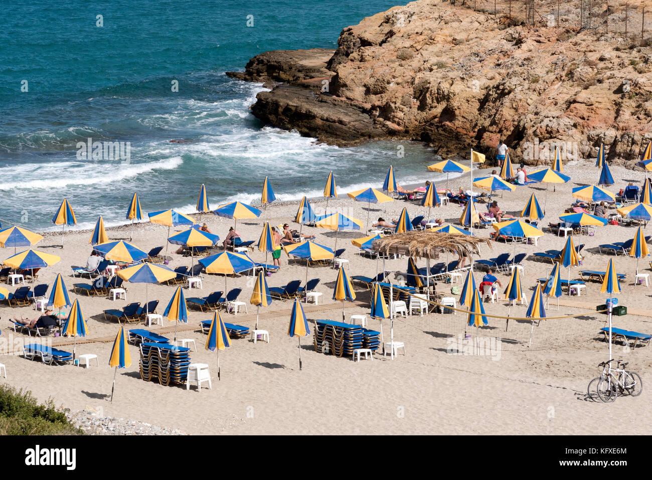 Seaside resort of Sisi close to Malia, Crete, Greece Stock Photo