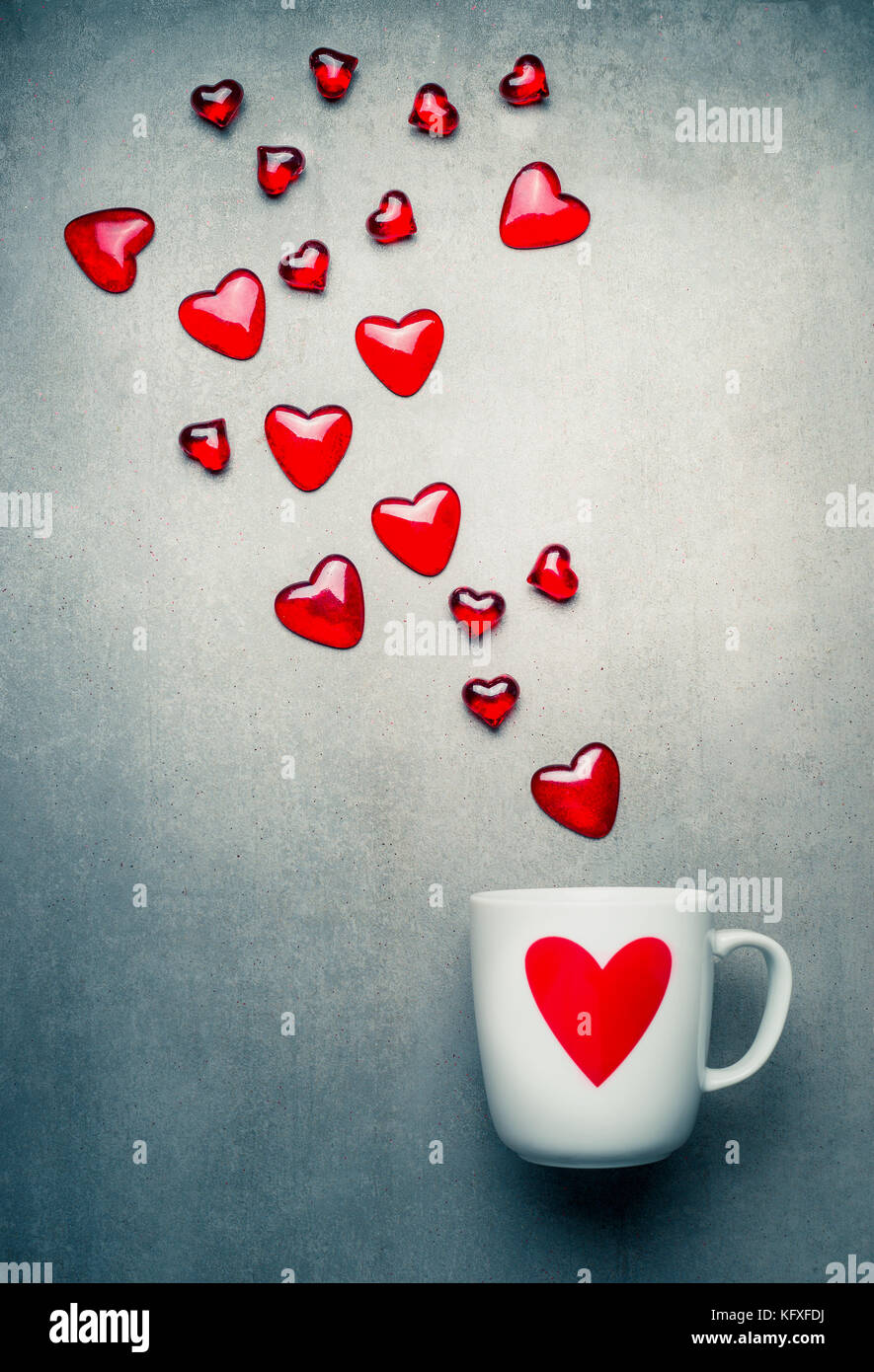 White Mug With Red Heart And Flying Glass Hearts Love Symbols And
