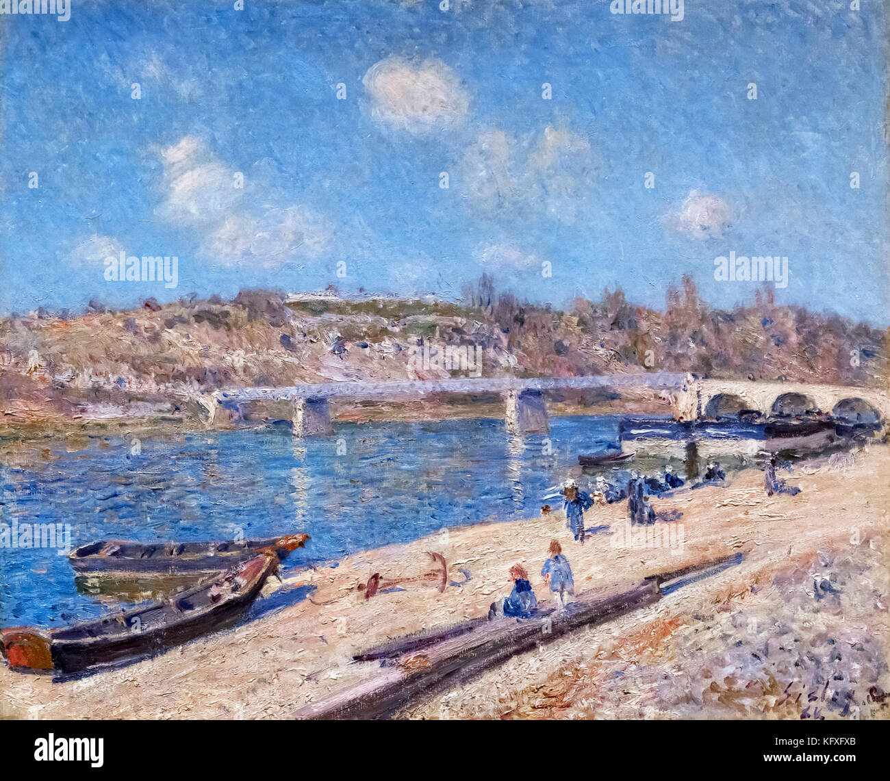 The Beach at Saint-Mammes by Alfred Sisley (1839-1899), oil on canvas, 1884 - Stock Image