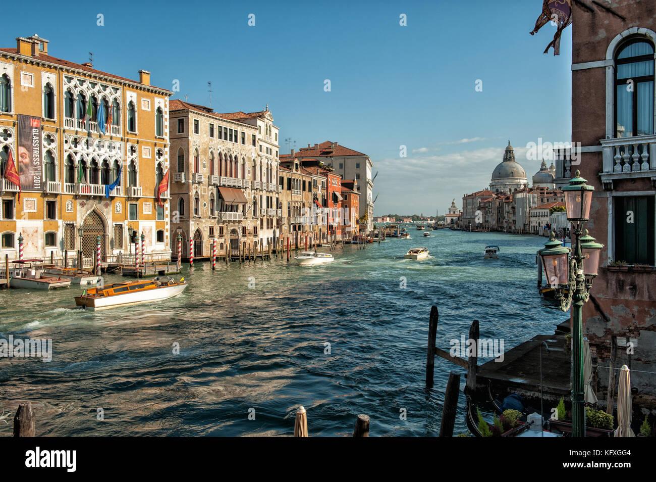 Palazzo Cavalli-Franchetti and Grand Canal in Venice, Italy - Stock Image