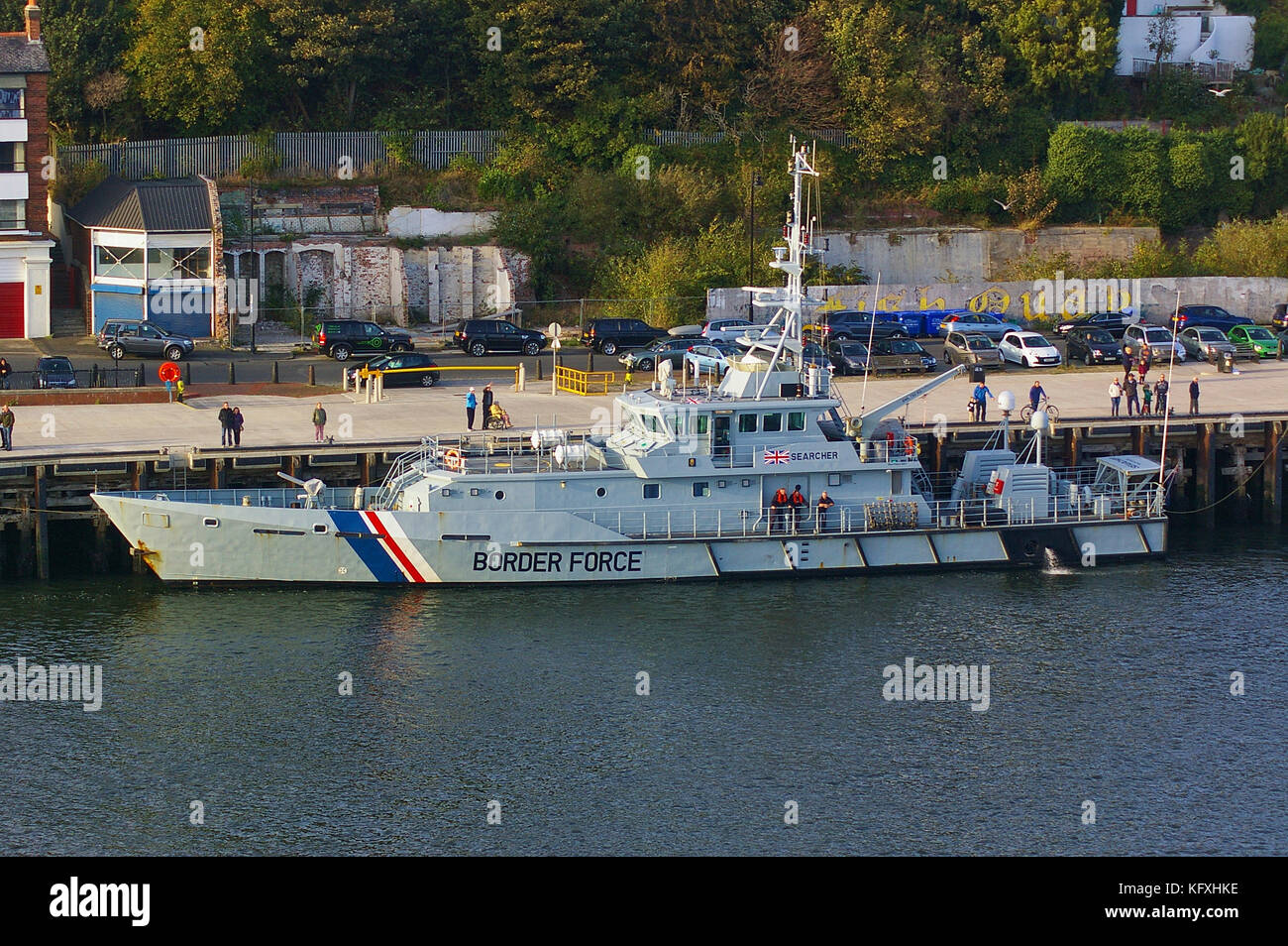 Newcastle, United Kingdom - October 5th, 2014 - UK border force cutter HMC Searcher at her moorings Stock Photo