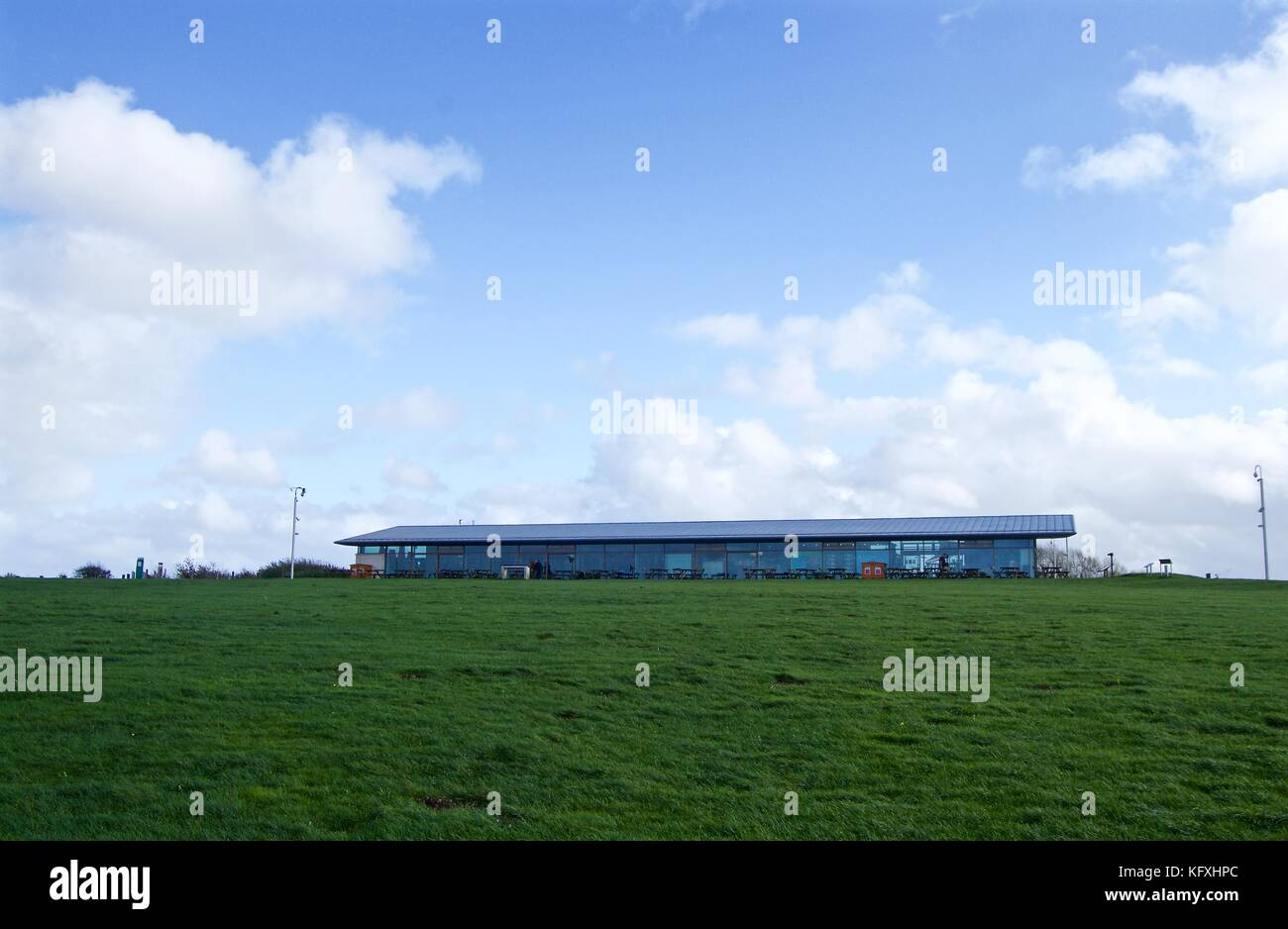Uphill view of Chiltern Hills Gateway Centre against blue sky in October, Dunstable Downs, Befordshire, UK Stock Photo