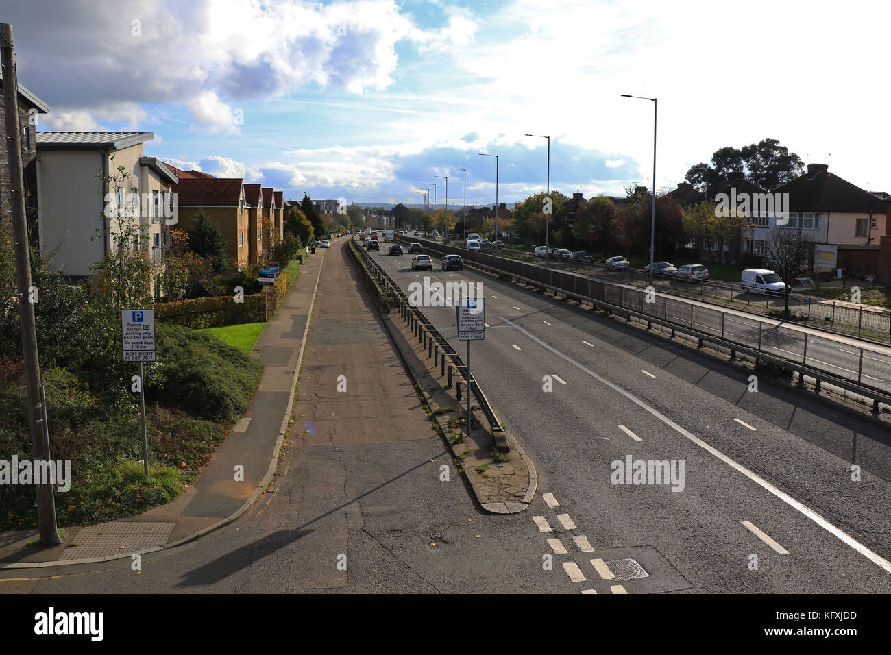 View of A1 Great North Way in Hendon from footbridge at bottom of Sunny Gardens Road - Stock Image