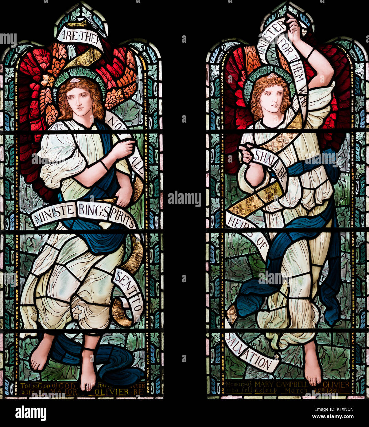 Ministering Spirits proclaiming Salvation by Henry Holiday, St. Oswald's Church, Grasmere, Cumbria, UK - Stock Image