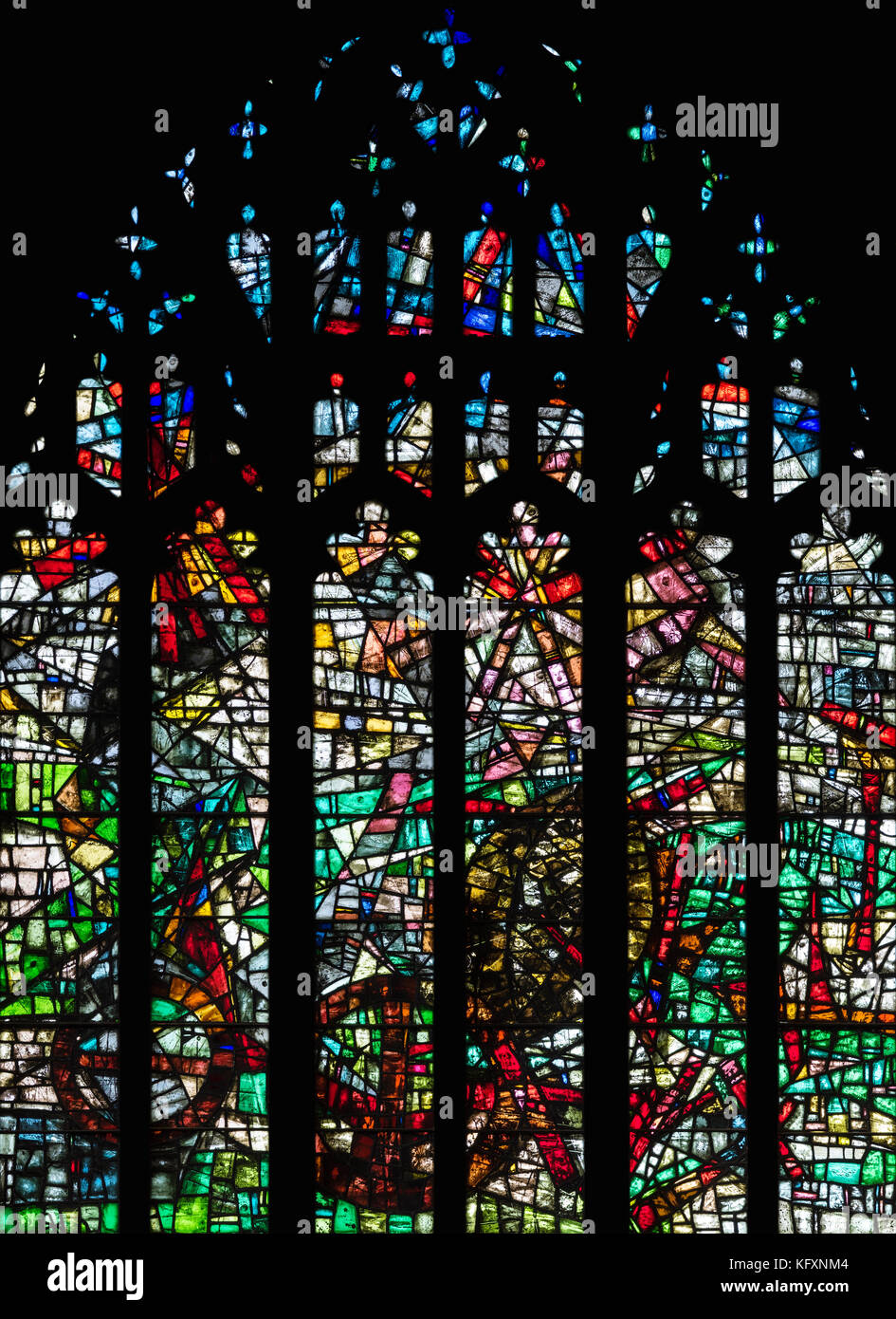 The Creation Window in Manchester Cathedral, United Kingdom - Stock Image