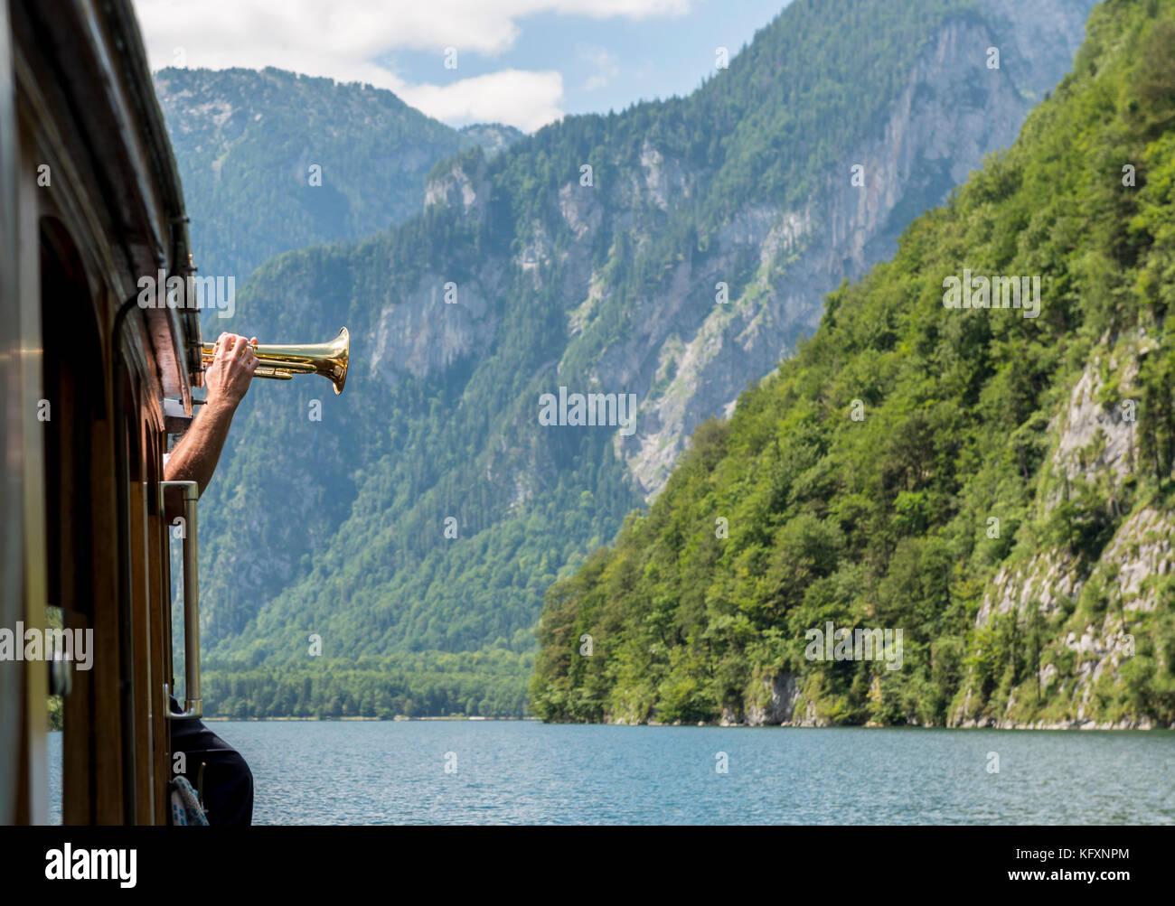 Trumpet for echo, Echowall at the Königsee, Berchtesgaden National Park, Berchtesgadener Land, Upper Bavaria, - Stock Image