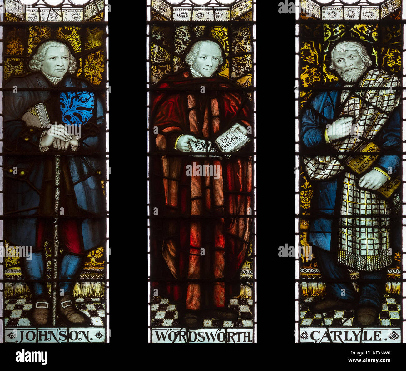 Famous writers commemorated in the John Rylands Library, Manchester, UK - Stock Image