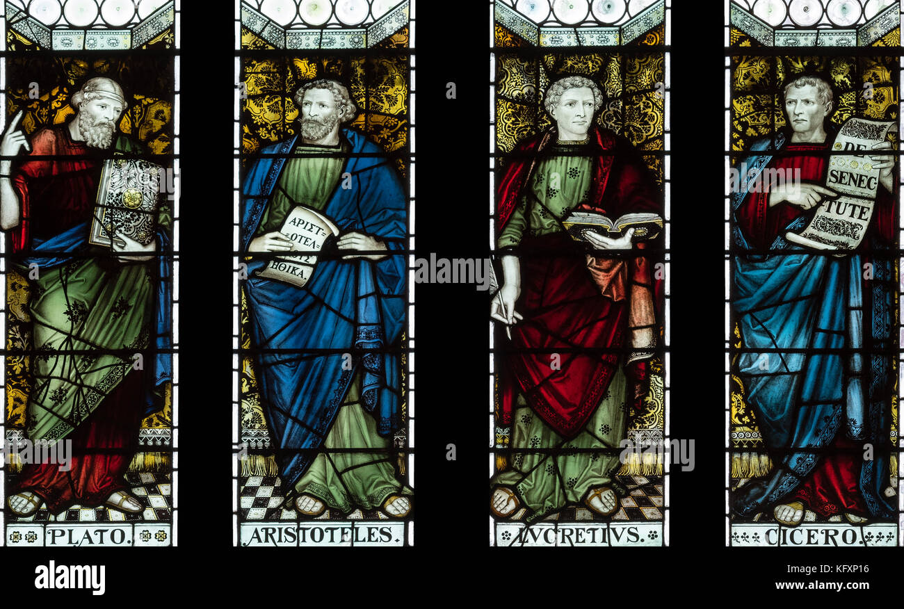 Seminal thinkers from the past commemorated in The John Rylands Library, Manchester, UK - Stock Image