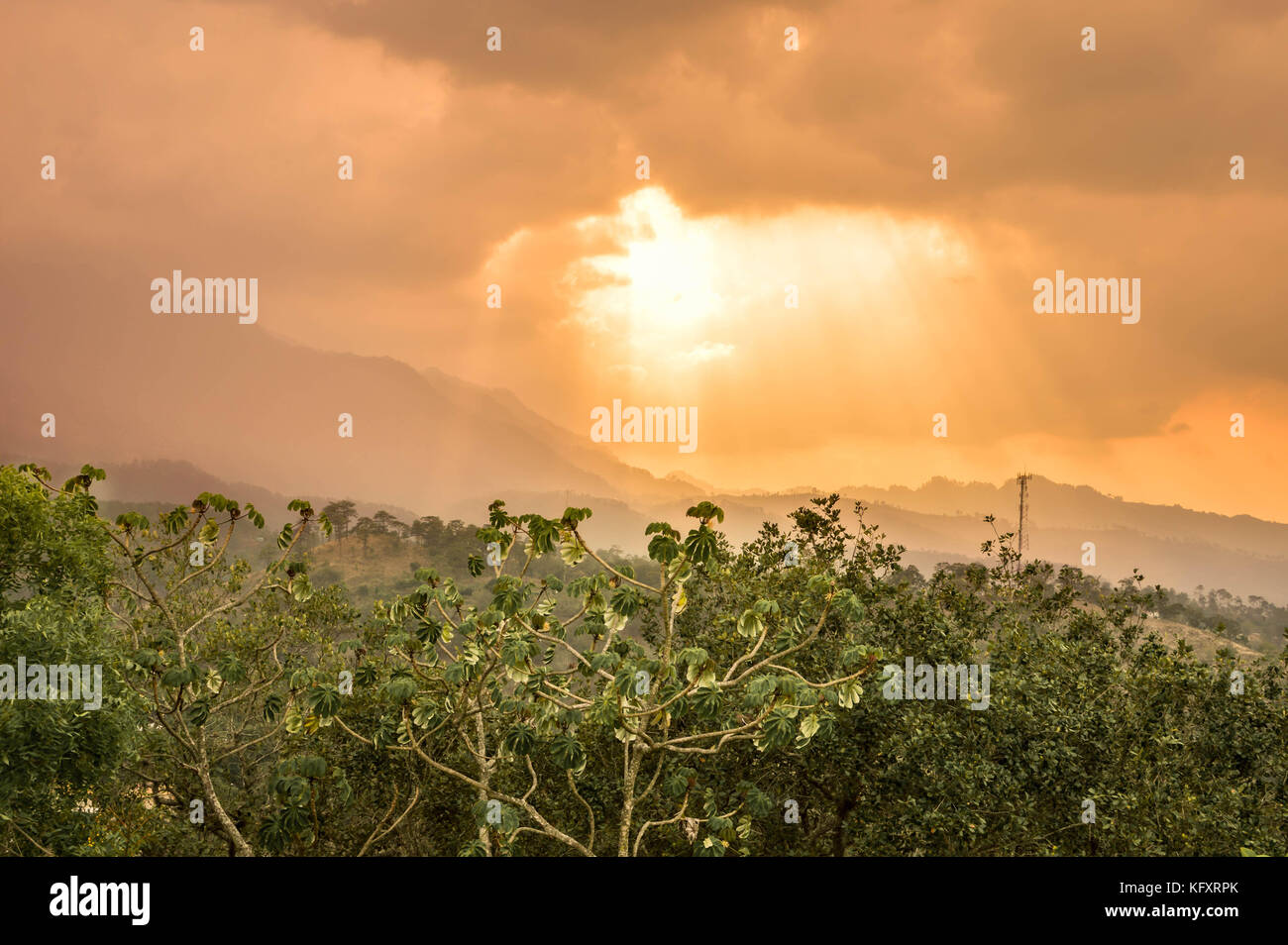 Panoramic view of the Celaque mountain and National during early sunset hours seen from the Castillo San Cristobal, Stock Photo