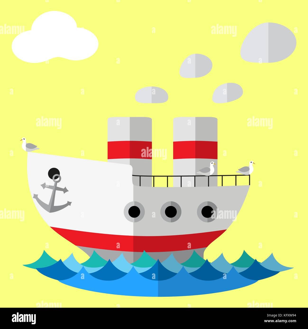 Retro steam ship flat vector poster. - Stock Vector