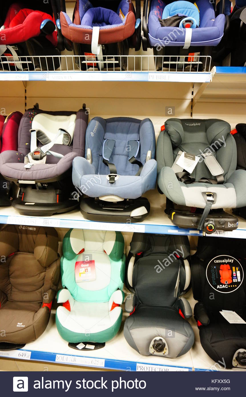Poznan Poland June 21 2014 Rows Of Baby Car Seats For Sale In A
