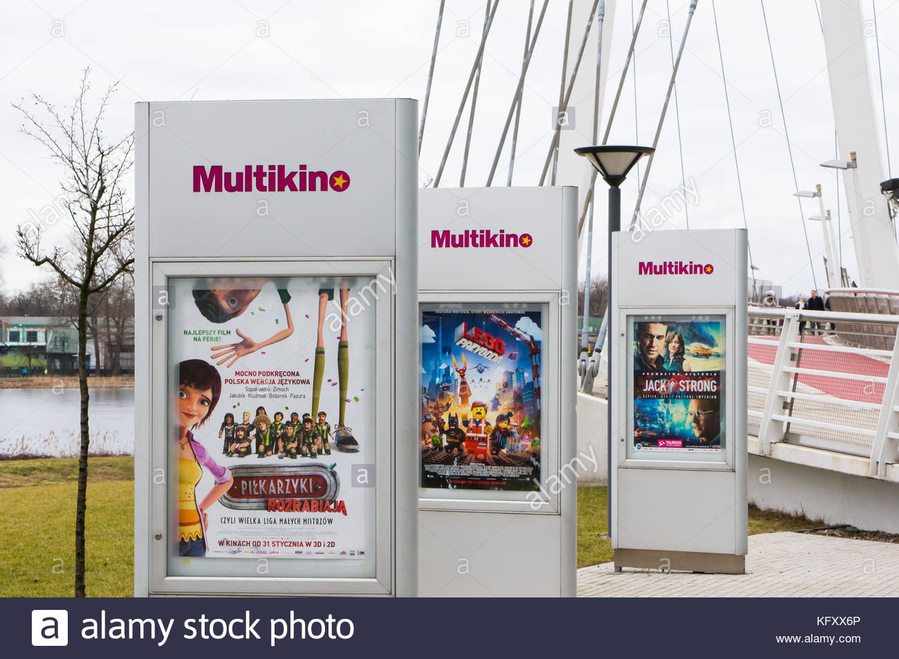 POZNAN, POLAND - FEBRUARY 16, 2013: Row of Multikino movie advertisements by the Malta shopping mall - Stock Image