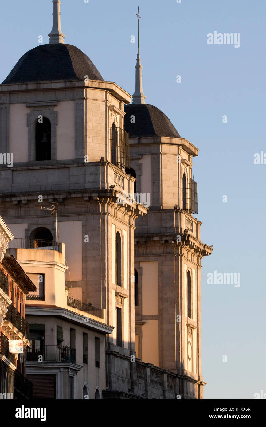 Towers from colegiata de San Isidro with afternoon light (Madrid, Spain). - Stock Image