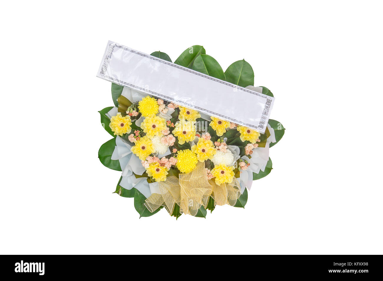 Yellow Flower Bouquet In Round Design With Name Tag Stock Photo