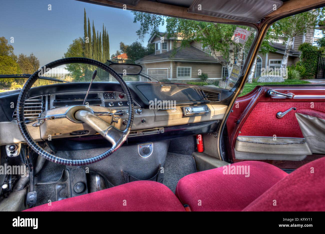 Interior Citroën DS21 photographed near Los Angeles, CA, U.S.A 1966. Stock Photo