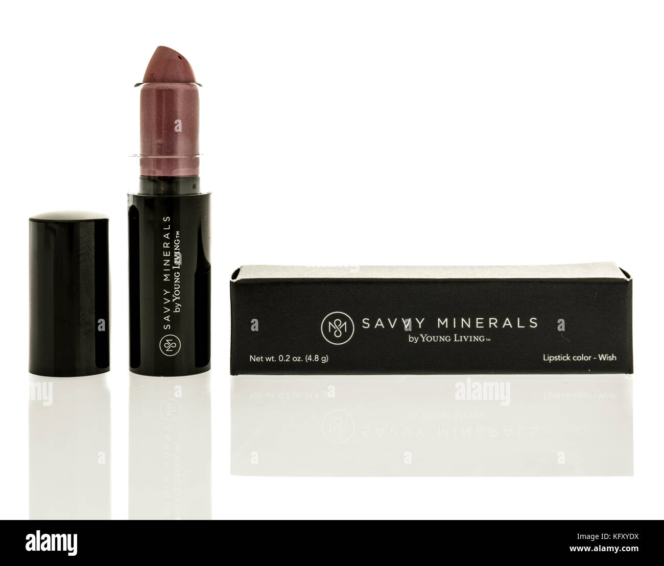 Winneconne, WI - 24 October 2017:  Lipstick by Young Living Savvy Minerals on an isolated background. - Stock Image