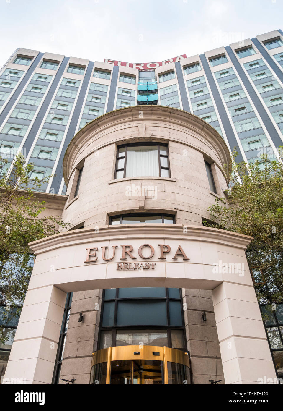 Europa Hotel, Victoria Street, Belfast. Famous during the troubles as the most bombed hotel in Europe - Stock Image