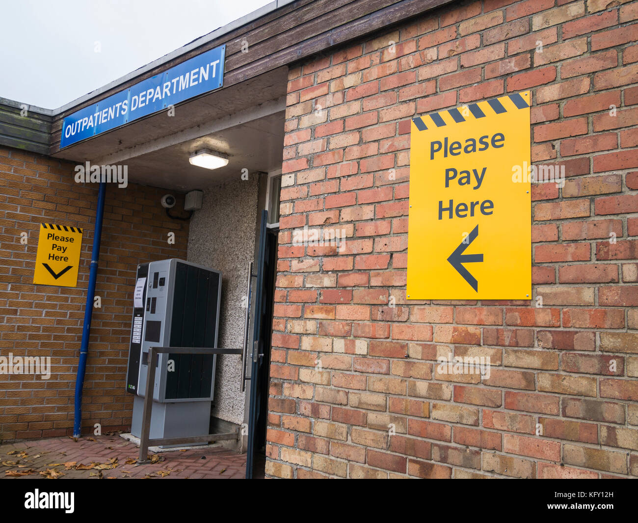 Hospital car park charges pay point, Newtownards, Northern Ireland - Stock Image
