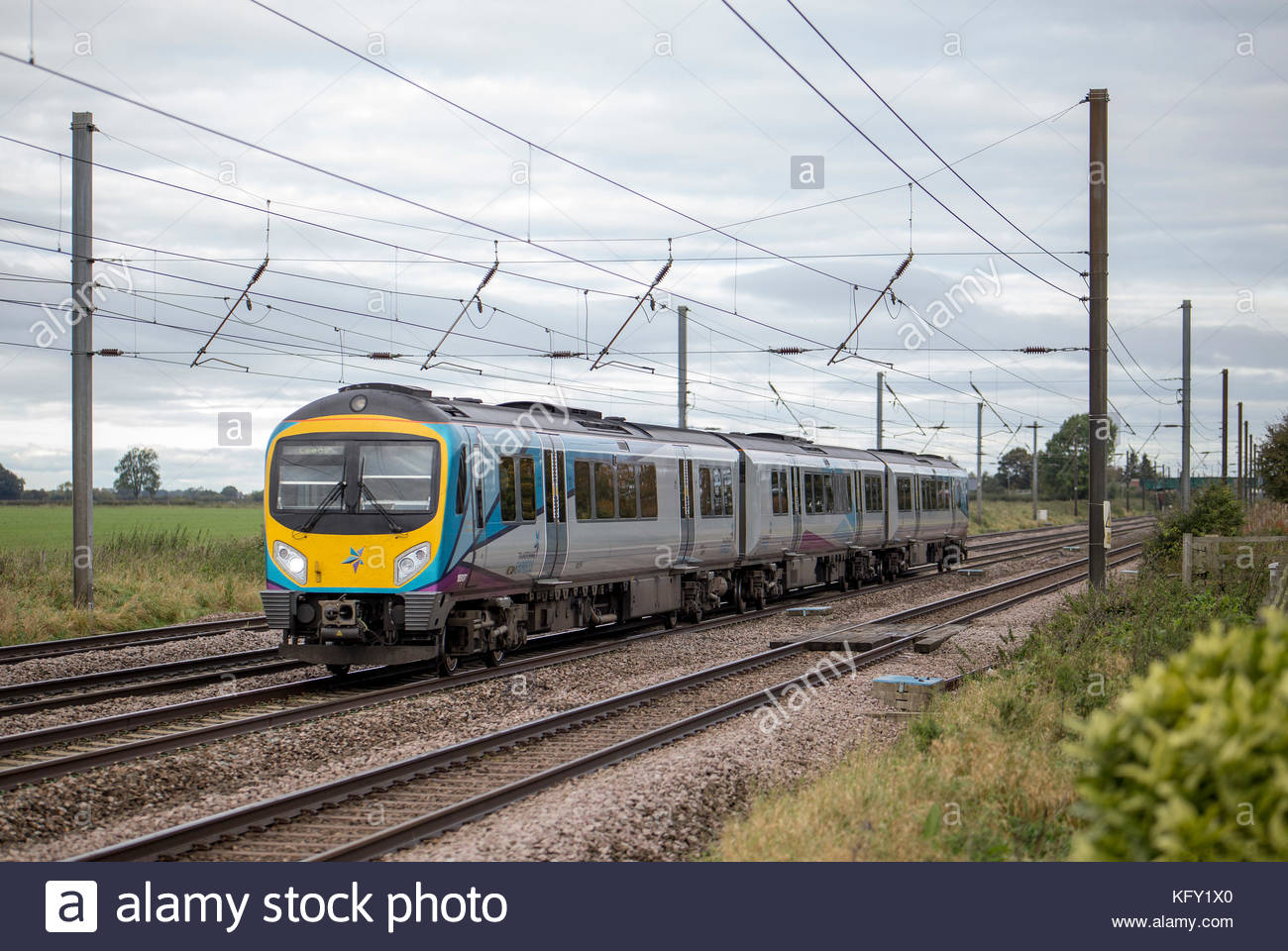 Class 185 TransPennine Express train bound for Newcastle, just north of York, Yorkshire, England Stock Photo