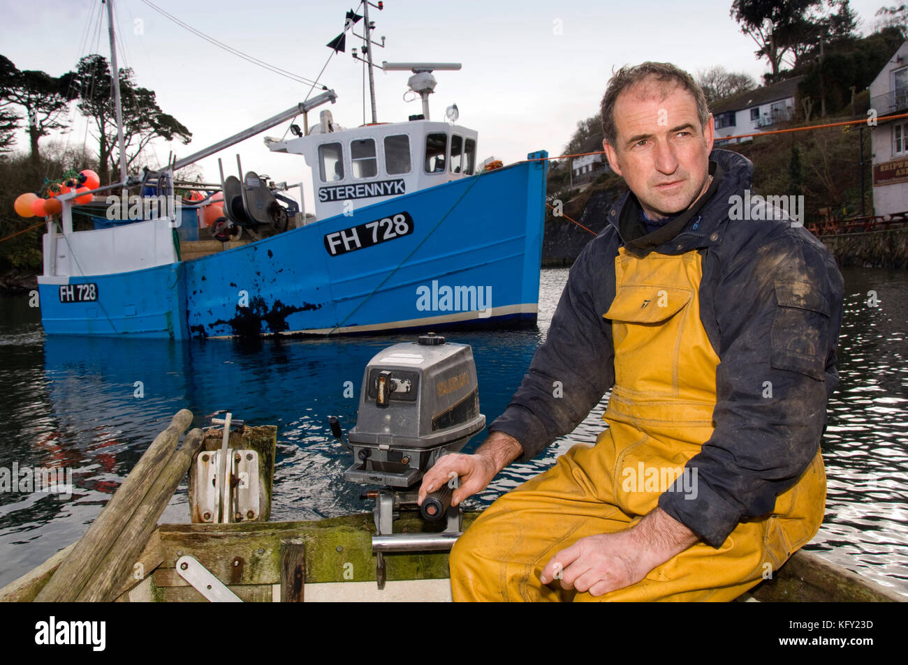 Helford quay on the Helford Estuary, Cornwall, where fishermen want to build a new quay.  Pix show fisherman David - Stock Image