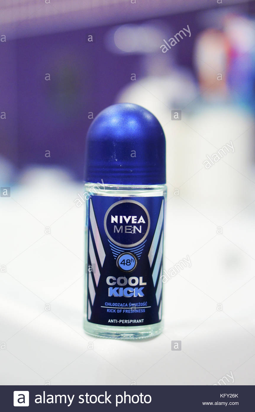 POZNAN, POLAND - FEBRUARY 24, 2016: Nivea Men Cool Kick 48h Anti Perspirant deo roller - Stock Image