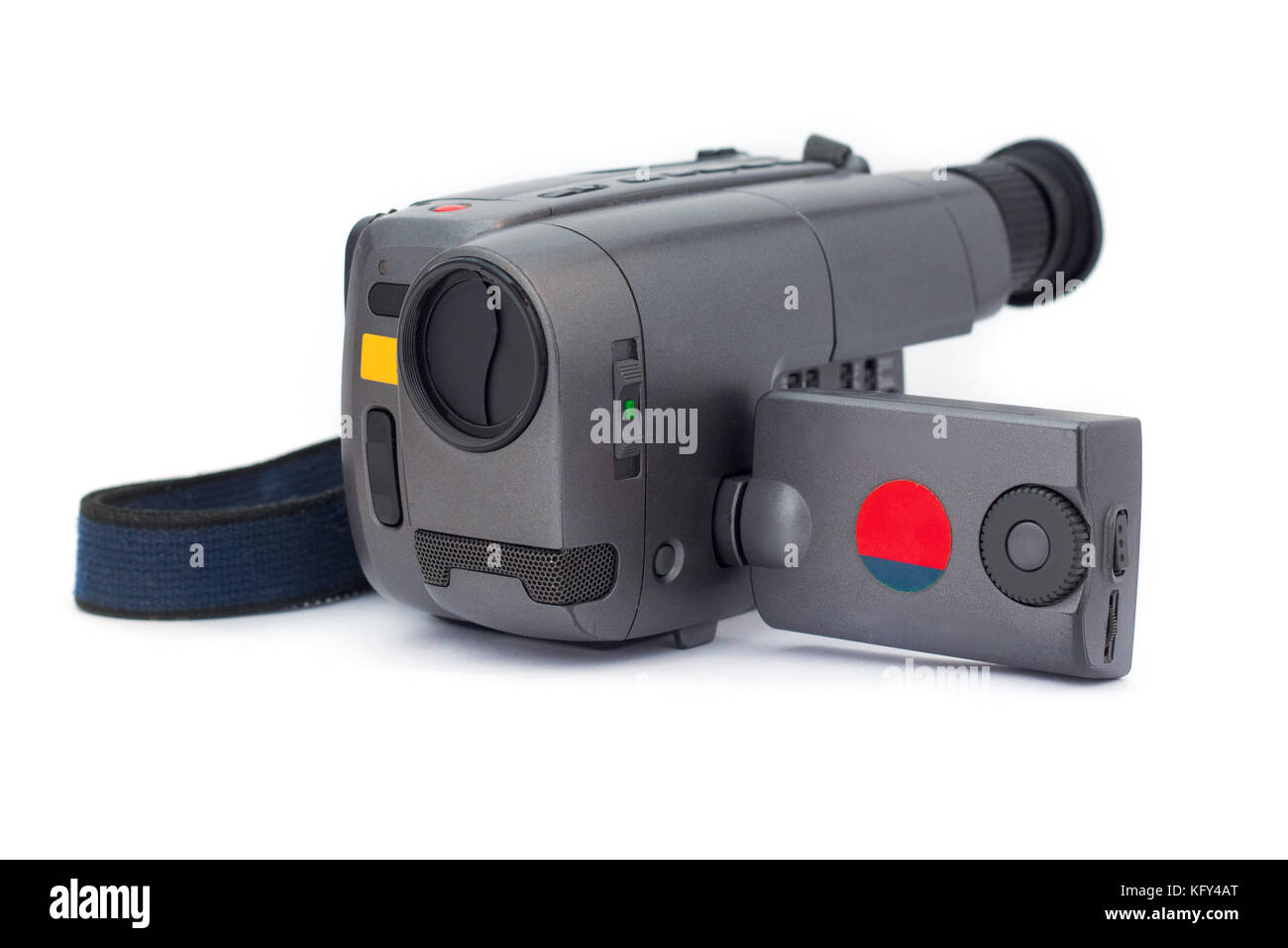 Digital MiniDV camcorder on white background - Stock Image