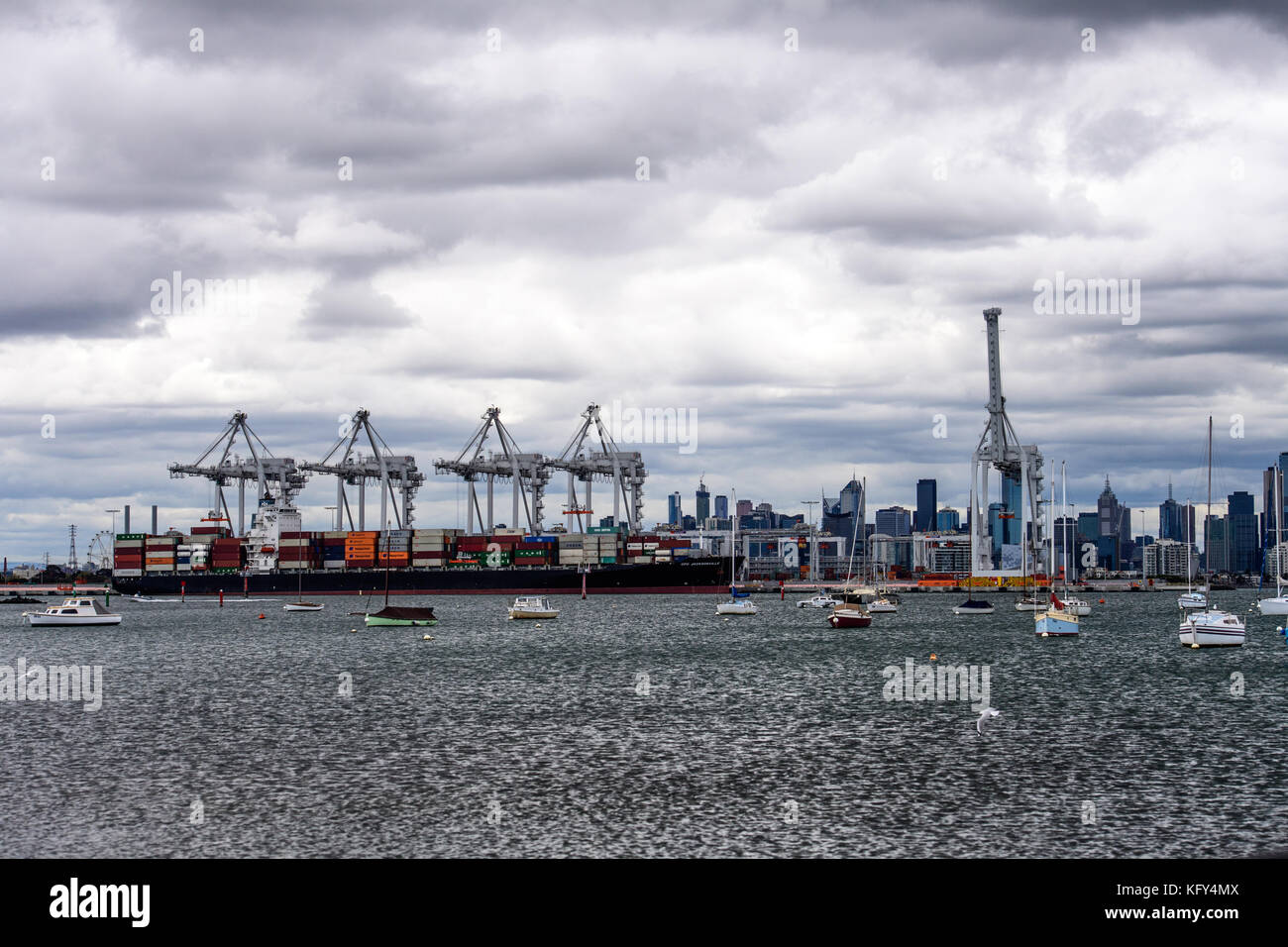 Shipping containers say Globalization - Stock Image