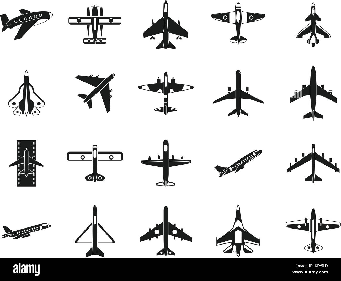 Plane icon set, simple style - Stock Image