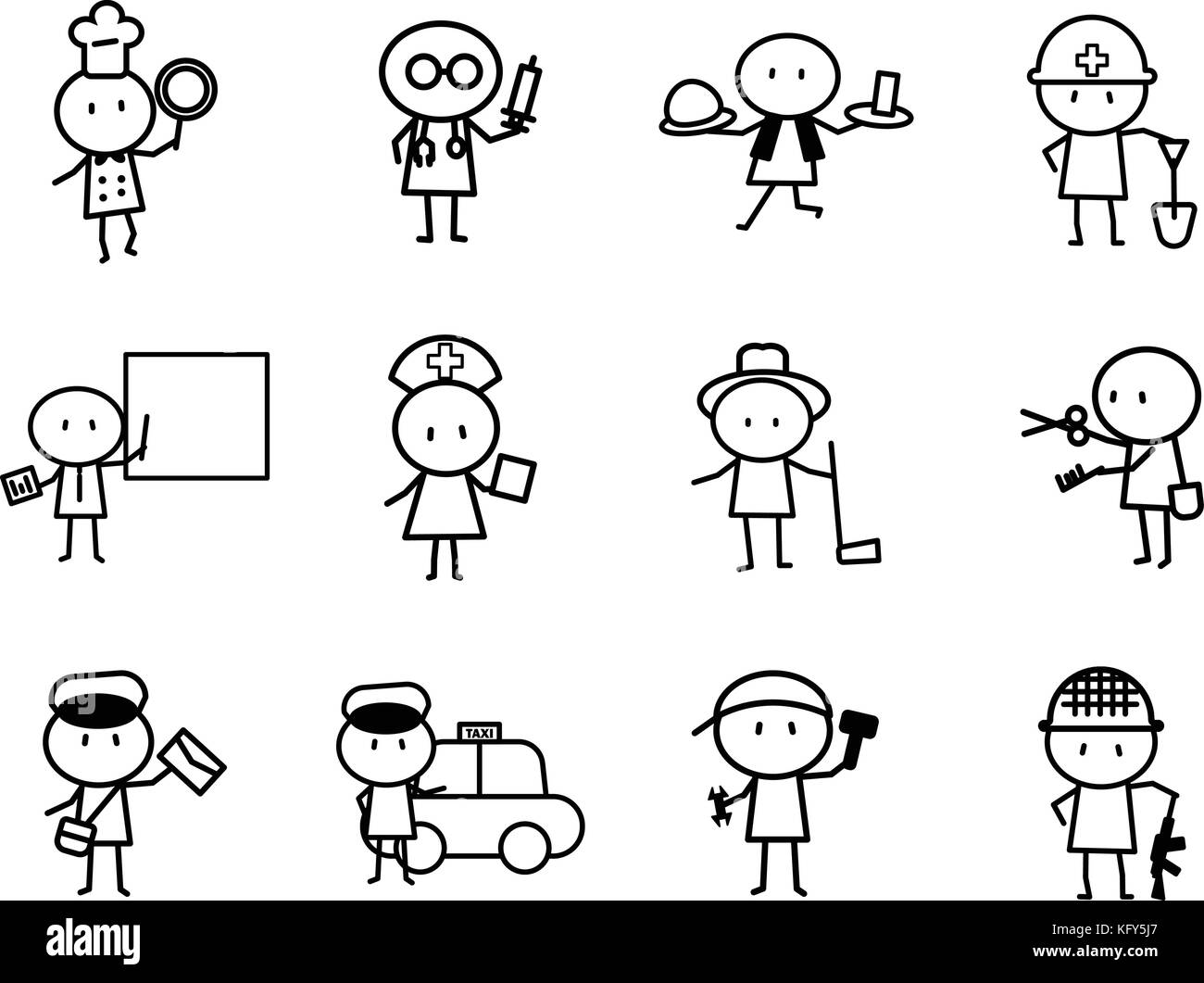 Set of Cartoon simple line character in variety careers with idea concept for vector graphic design - Stock Image