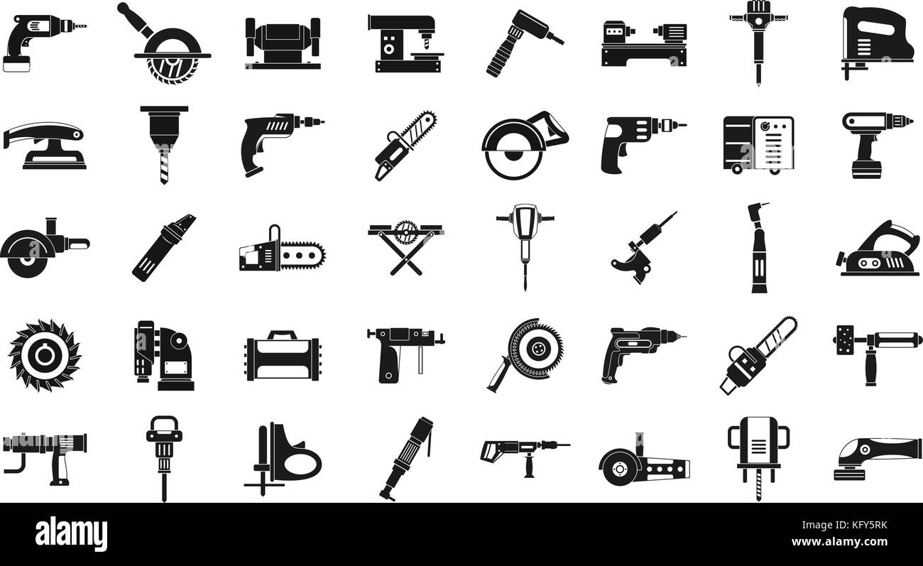 Electric tools icon set, simple style - Stock Image