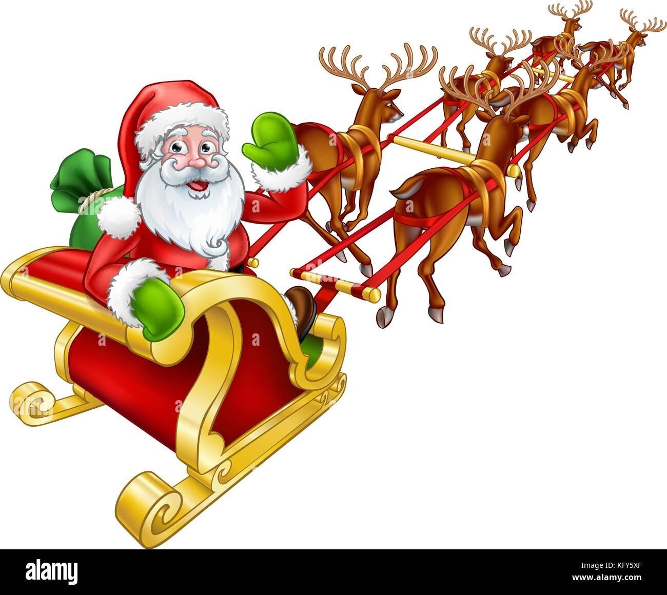 Santa Claus Christmas Reindeer and Sled Sleigh  - Stock Image