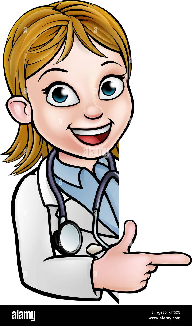 Doctor Cartoon Character Pointing Sign - Stock Vector