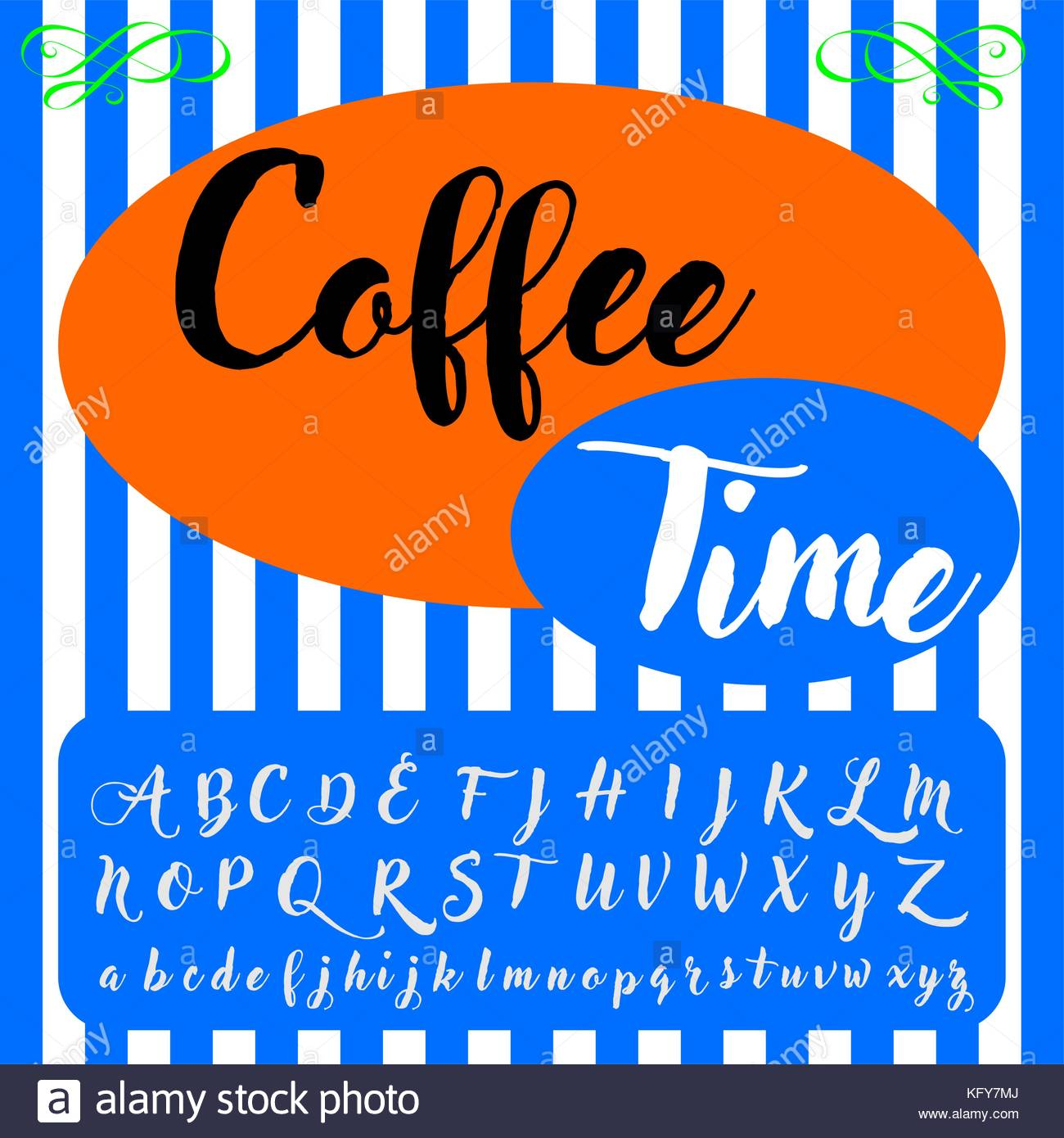 Vector Set Of Hand Drawn Abc Alphabet Letters Fonts Named Coffee
