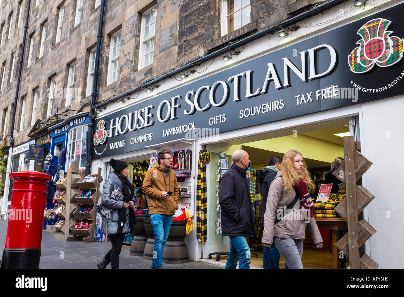Exterior of typical tourist souvenir shop on the Royal Mile in Edinburgh , Scotland, United Kingdom. - Stock Image
