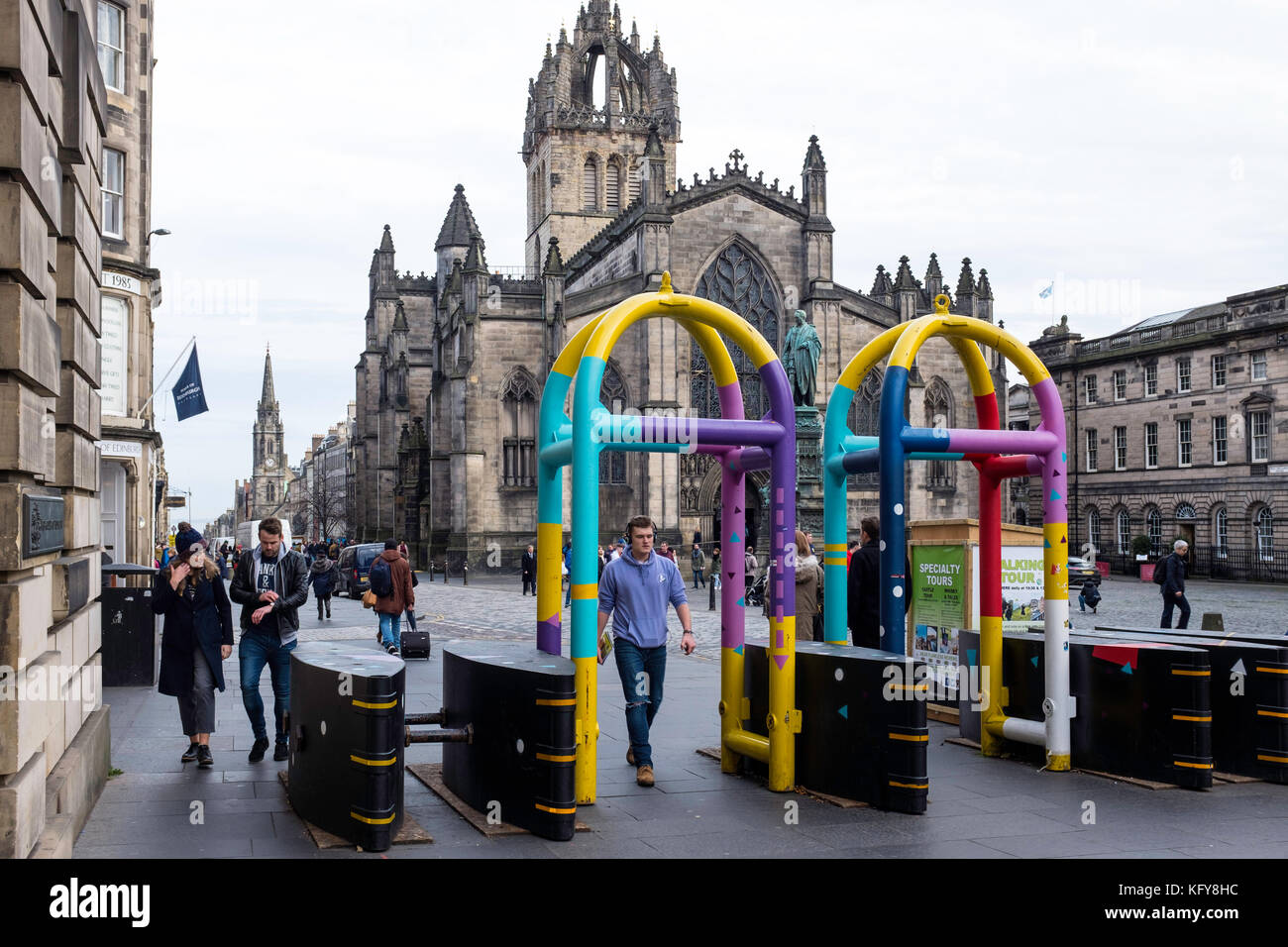 View of new anti-terrorist vehicle barriers on the Royal Mile in Edinburgh, Scotland, United Kingdom. - Stock Image