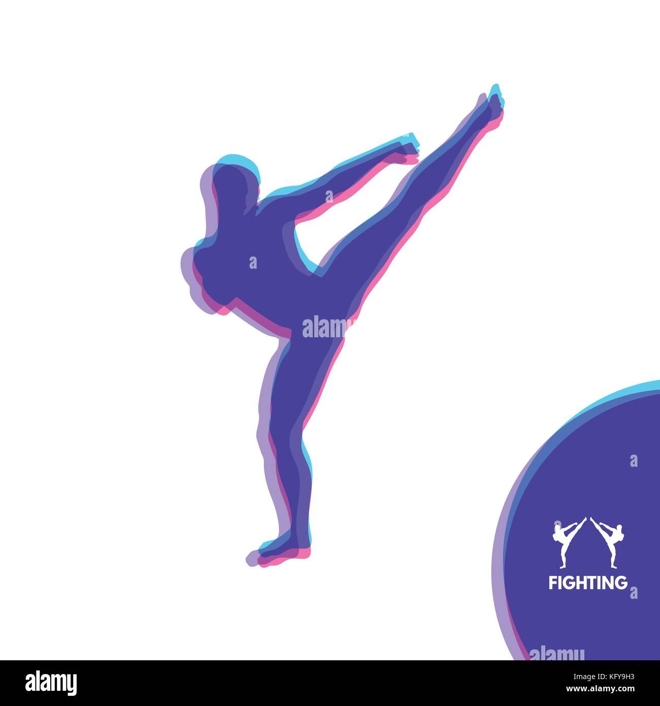Kickbox fighter preparing to execute a high kick. Silhouette of a fighting man. Design template for Sport. Emblem - Stock Image