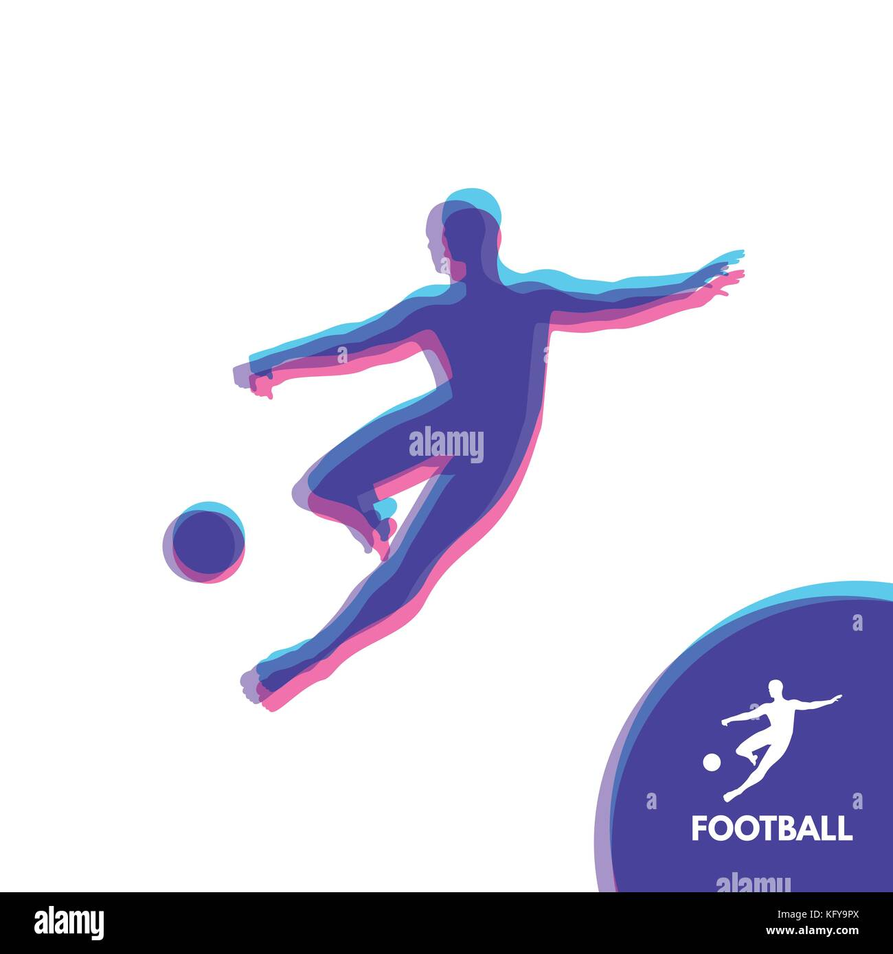 Football player with ball. Sports concept. Design Element. Vector Illustration. Sport Symbol. Stock Vector
