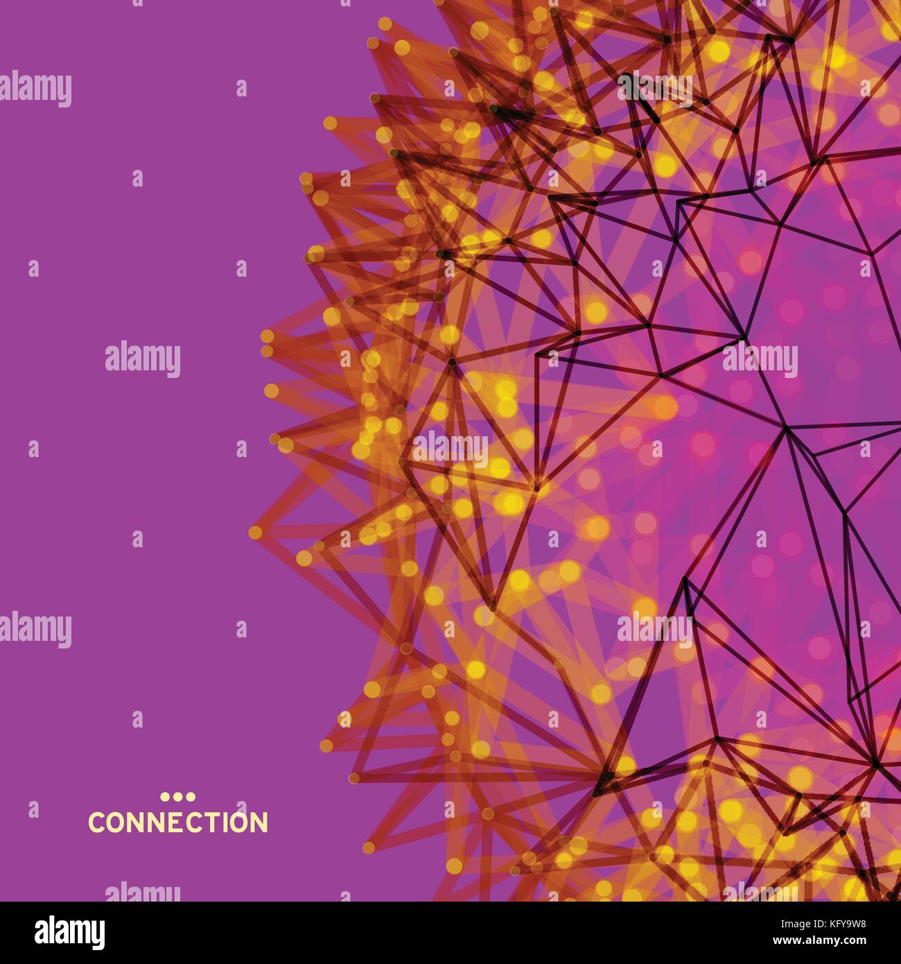 Scientific illustration with connected lines and dots. Luminous microscopic forms. Glowing grid. Connection structure. Stock Vector
