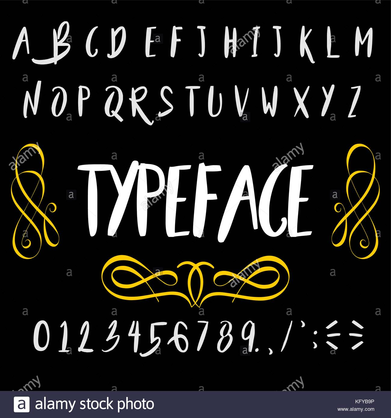 Vector Set Of Handwritten Fonts ABC Alphabet Letters And Numbers