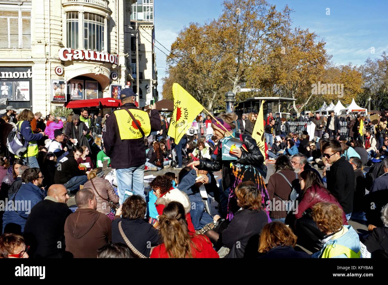 Protest Climate in Montpellier COP21, Place de La Comedie, Languedoc-Roussillon, France Stock Photo