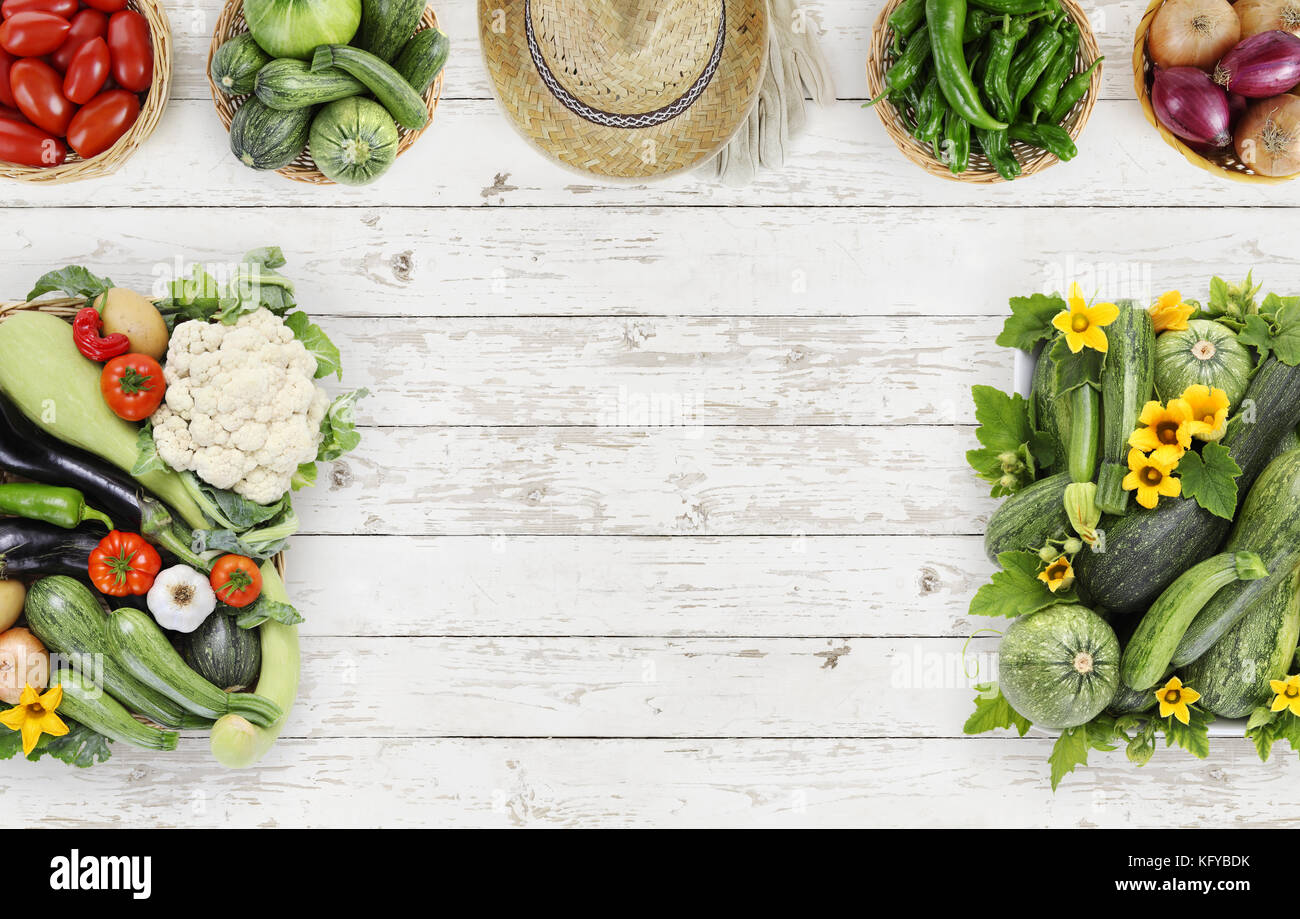 vegetables top view on kitchen table white wooden, natural vegetable ...
