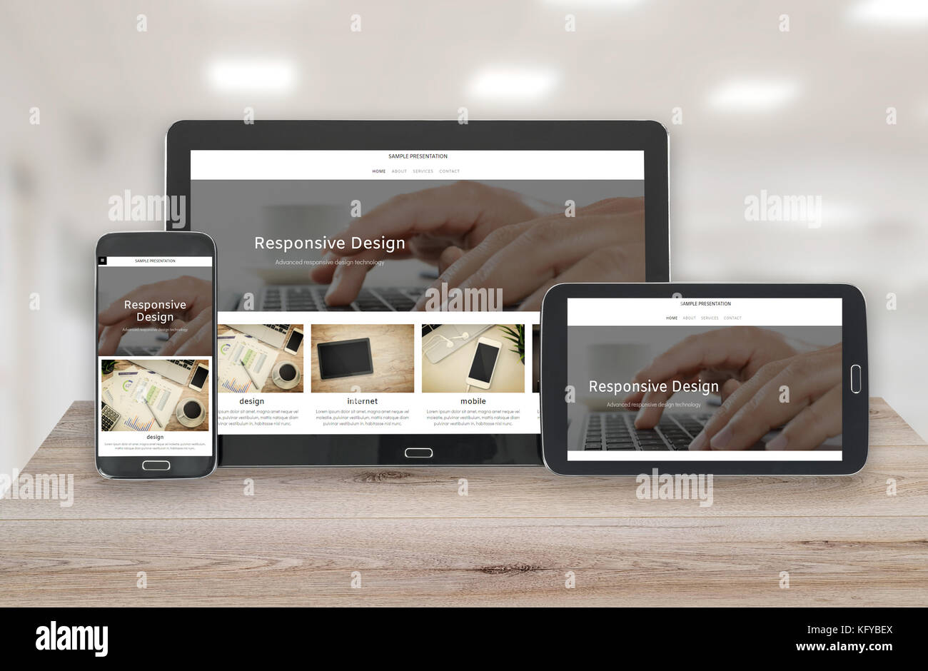 Concept image of multi device technology for responsive design presentation - digital tablet and smartphone in various - Stock Image