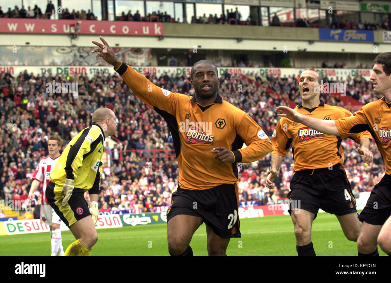 Footballer Dean Sturridge celebrates goal SHEFFIELD UTD V WOLVES AT BRAMHALL LANE. - Stock Image