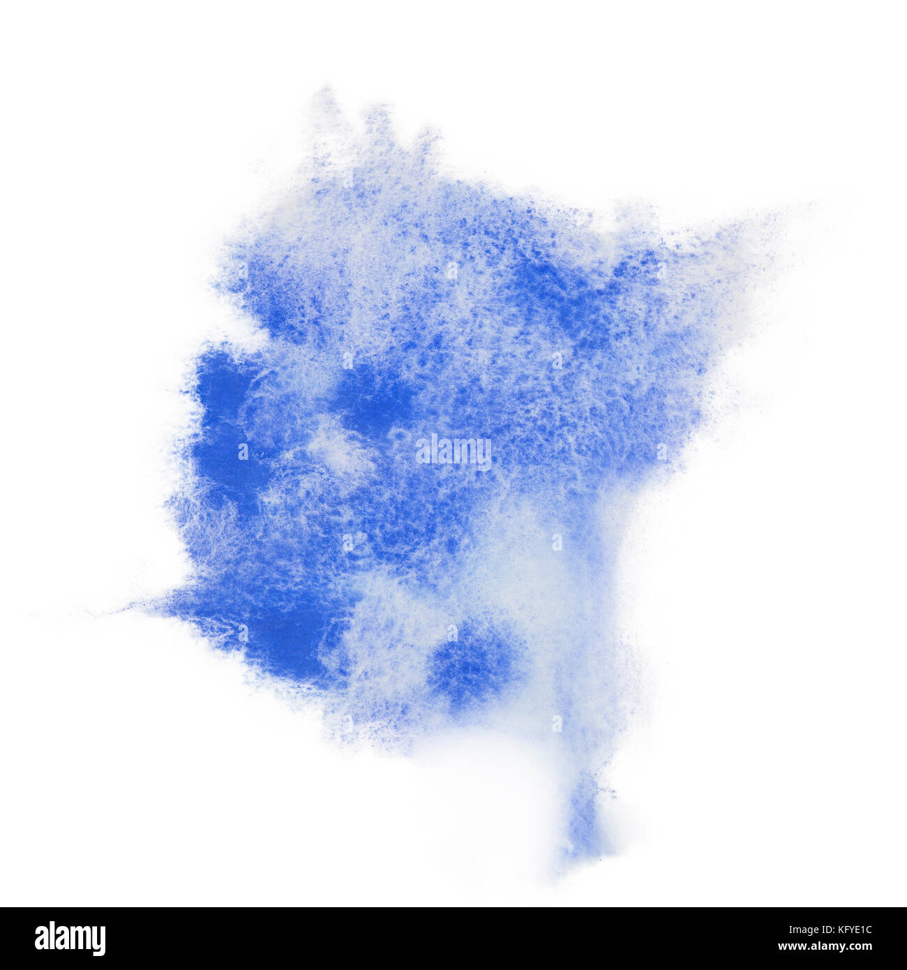 Color, blue splash watercolor hand painted isolated on white background, artistic decoration or background - Stock Image