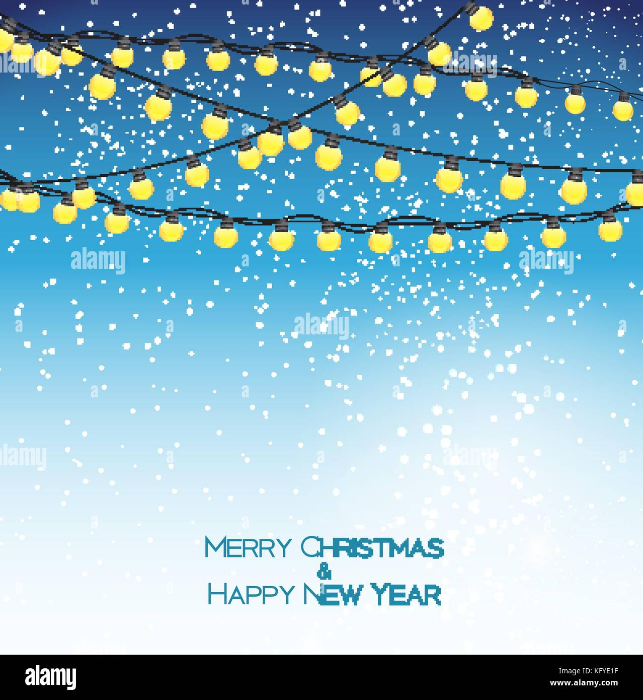 Abstract Beauty Christmas and New Year Background with Garland Bulb Lights and Falling Snow. Vector Illustration - Stock Vector