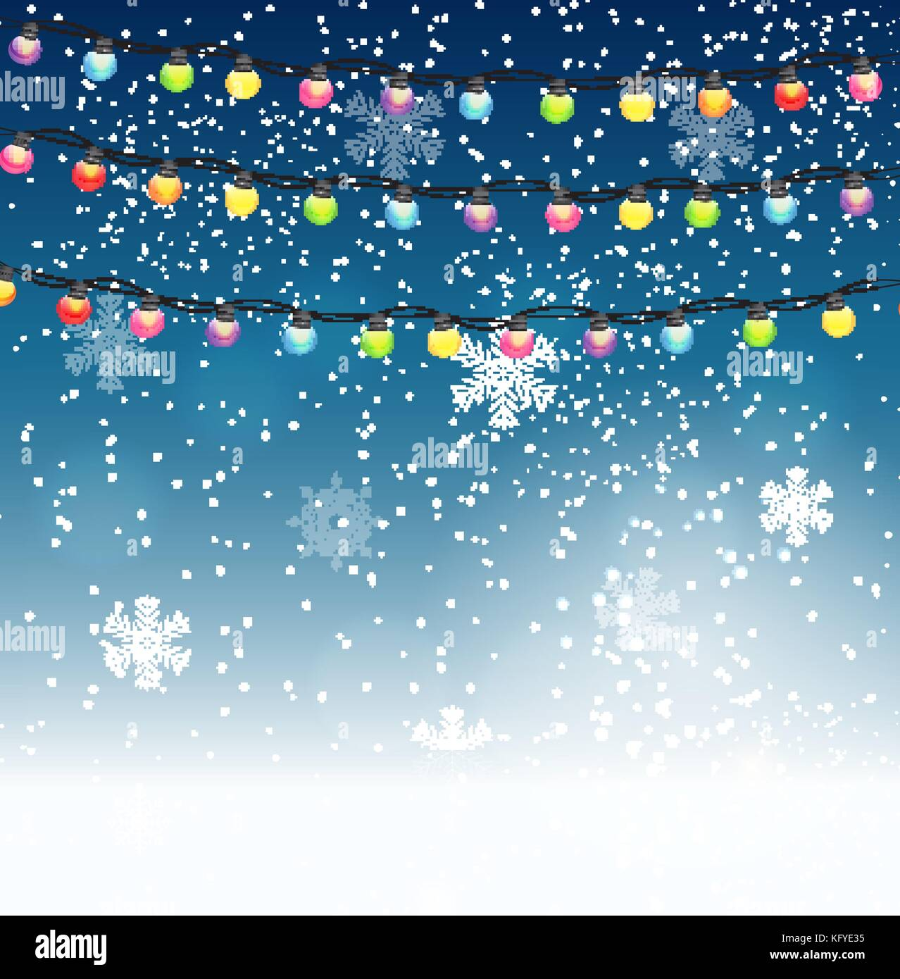 abstract beauty christmas and new year background with garland bulb lights and falling snow vector illustration